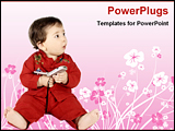 PowerPoint Template - baby with a cell phone in a floral background