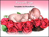 PowerPoint Template - a baby sleeping on a bed of rose