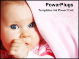 PowerPoint Template - Five months old baby girl with blue eyes under soft blanket with thumb in her mouth