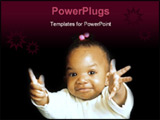 PowerPoint Template - baby girl gesturing towards camera with expressive look on her face.