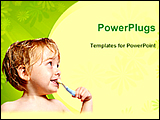 PowerPoint Template - a baby brushing teeth