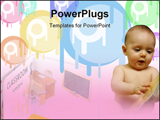 PowerPoint Template - urious little boy reading a story book, Little book. For children. Illustrations in the words of th