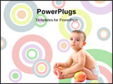 PowerPoint Template - Baby with healthy fruits on white background .