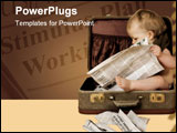 PowerPoint Template - baby sits in suitcase, reads newspaper