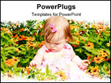 PowerPoint Template - Baby Girl Sitting in Bed of Flowers