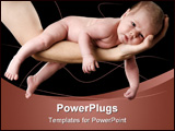 PowerPoint Template - Four weeks old baby on a arm. Studio picture