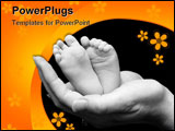 PowerPoint Template - five week old baby feet held in mothers hand.