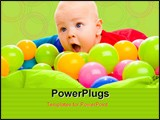 PowerPoint Template - Portrait of a baby boy lying in basin with colorful balls