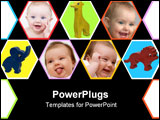 PowerPoint Template - Portrait of newborn baby with different facial expressions