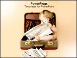 PowerPoint Template - Baby reading newspaper inside of suitcase.