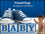 PowerPoint Template - Baby blocks with blue denim baby shoes