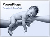 PowerPoint Template - newborn baby in black and white yawning and being held by both parents hands