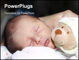 PowerPoint Template - Sweet dreams sleeping baby with a teddy