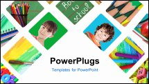 PowerPoint Template - Back to school collage, photos of school objects