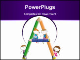 PowerPoint Template - Happy kids and letter A with crayons