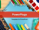 PowerPoint Template - School and office supplies frame on blue background back to school