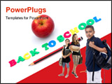 PowerPoint Template - he words BACK TO SCHOOL written with colorful foam letters with healthy apple and pencil. Image iso