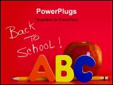 PowerPoint Template - Red apple with ABC letters and a pencil on red background