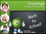PowerPoint Template - Cartoon apple by chalkboard with back to school message