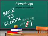 PowerPoint Template - endered image of the words back to school written on a blackboard in a classroom. Books and an appl