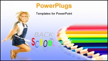 PowerPoint Template - Set of color pencils. It is isolated on a white background ** Note: Shallow depth of field