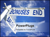 PowerPoint Template - bailout dr and bonuses end sign post over blue sky