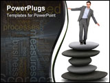 PowerPoint Template - business man balancing over a pile of stones isolated