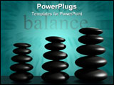 PowerPoint Template - Pebbles balance arrangement with relaxing cyan background