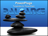 PowerPoint Template - Blue stone sitting in balance on other black stones - 3d render