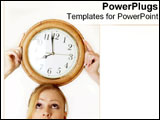 PowerPoint Template - A woman balances a clock on her head.