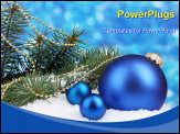 PowerPoint Template - Christmas ornament and green tree in the snow on blue
