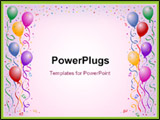 PowerPoint Template - multicorored birthday balloons with confetti on the white background