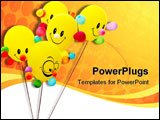 PowerPoint Template - Happy smiling colorful balloon on white background
