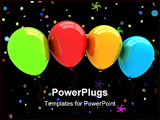 PowerPoint Template - 3D rendered party balloons isolated on white background.