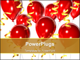 PowerPoint Template - Big red balloons and golden ribbon.