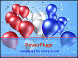 PowerPoint Template - Red white and blue balloons flying free towards a starry sky