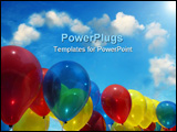 PowerPoint Template -  row of multi-coloured balloons floating against a clear blue sky. A tree can be seen, reflected in
