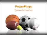 PowerPoint Template - sports balls over a white background