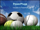 PowerPoint Template - sports balls on the grass made in 3d