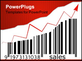 PowerPoint Template - barcode with and increasing bar size depicting increasing sales