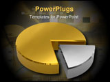 PowerPoint Template - Golden pie chart with silver sector on white surface