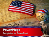 PowerPoint Template - a copy of the constitution of the united states accompanied by a flag