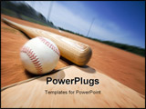 PowerPoint Template - Baseball and bat on home plate of a ballpark