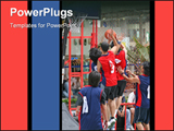 PowerPoint Template - A couple of basketball players defending during a match
