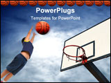 PowerPoint Template - a flaying basketball entering in the basket