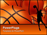 PowerPoint Template - 3d render illustration of basketball background - close up