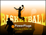 PowerPoint Template - Basketball background with players silhouettes and writing