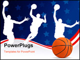 PowerPoint Template - Basketball players vector illustration art abstract background