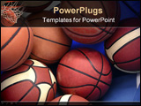 PowerPoint Template - photo of several orange basket balls inside a blue bag.