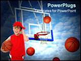 PowerPoint Template - Basket balls trying to score